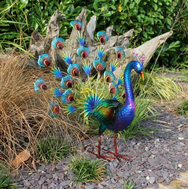 Blue Peacock Large Garden Metal Statue Lawn Ornament